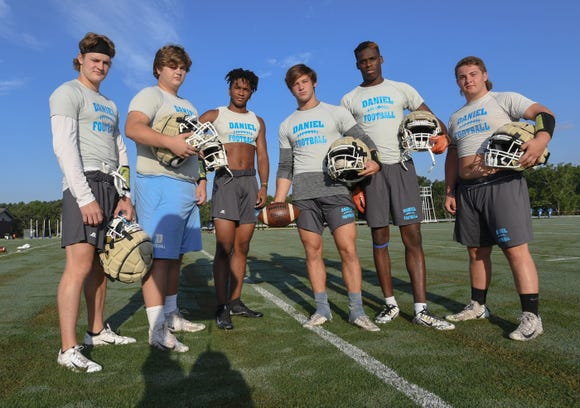 From left, Daniel's Hampton Earle, Campbel Guffee, Tresean Hallums, Tyler Venables, Josiah Benson and Dylan Shiflett and their teammates are upbeat after a subpar 2017 season.