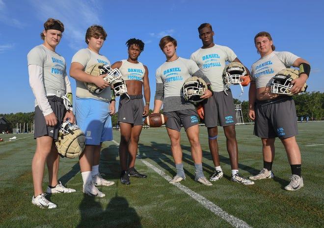 From left, Daniel's Hampton Earle, Campbel Guffee, Tresean Hallums, Tyler Venables, Josiah Benson and Dylan Shiflett and their teammates are upbeat after a subpar 2017 season.