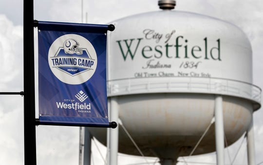 Signs and markers are everywhere to be seen welcoming fans and players to the Indianapolis Colts training camp at Grand Park in Westfield on Thursday, July 26, 2018.