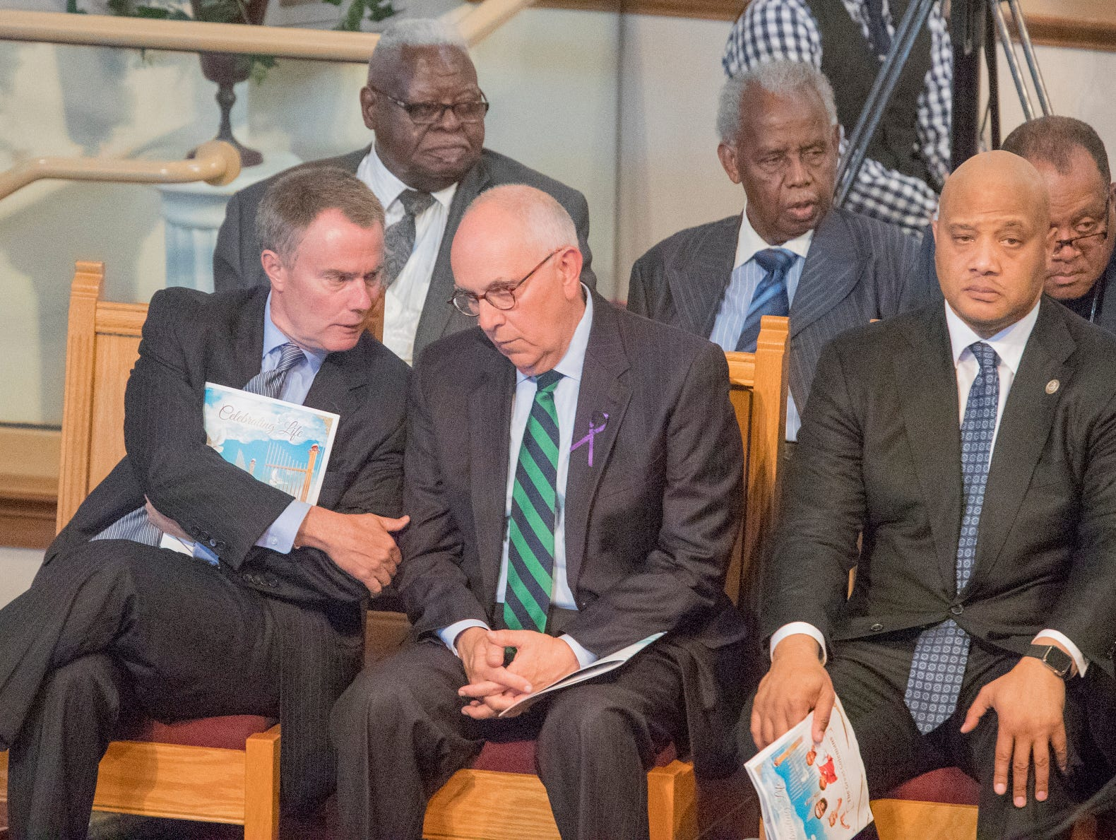 Mayor Joe Hogsett, Marion Co. Prosecutor Terry Curry and Congressman Andre Carson attended the homegoing service of Glenn Coleman, 40, Reece, 9, Evan, 7, and Arya, 1, at Grace Apostolic Church on Friday, July 27, 2018. Seventeen people were killed in the duck boat accident in Branson, Missouri, nine of them were members of the Coleman family.