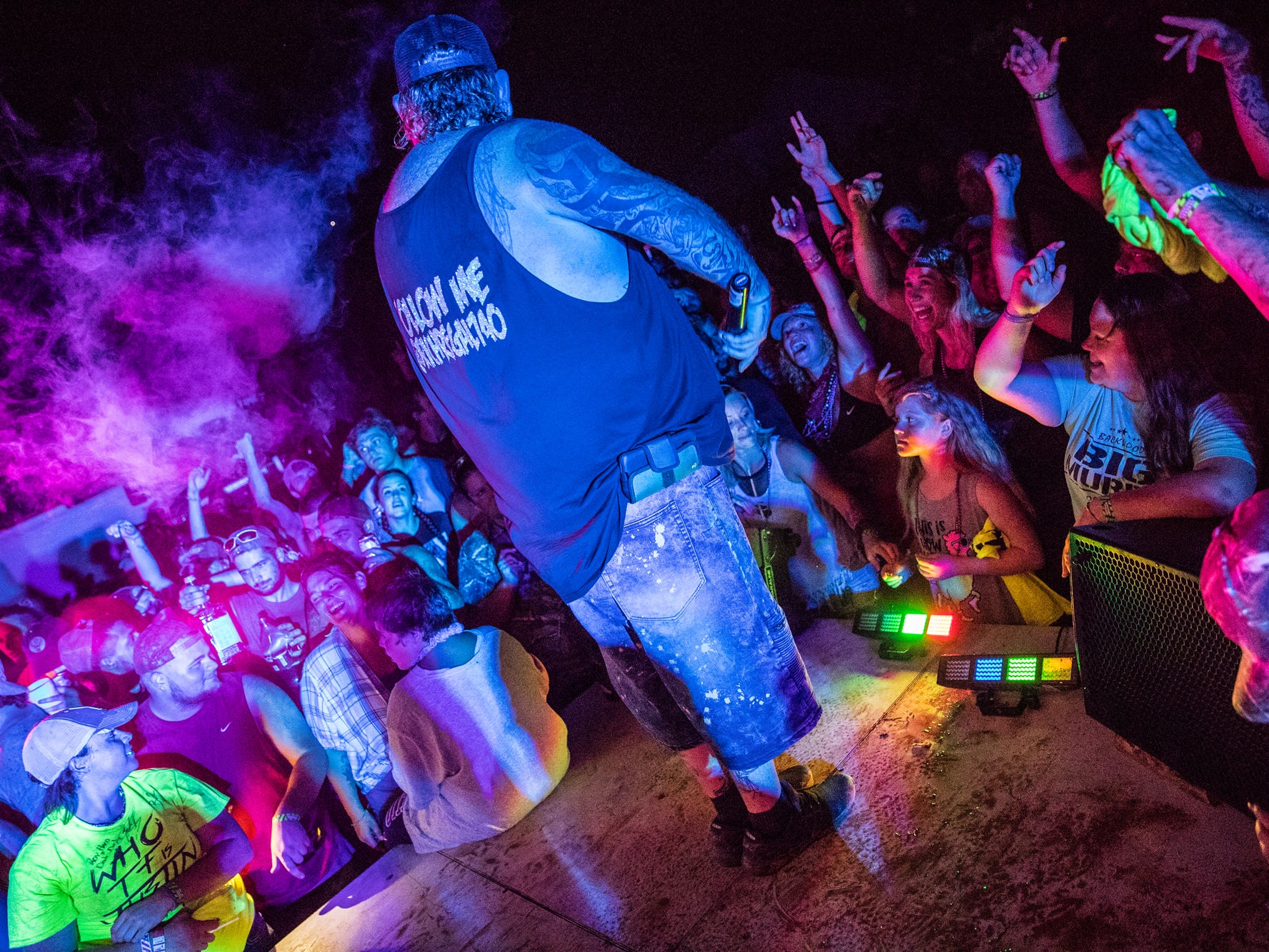 Rich Regal performs during the Redneck Rave at BlackSwan Mudpit in Medora, Ind., on Friday, July 20, 2018.