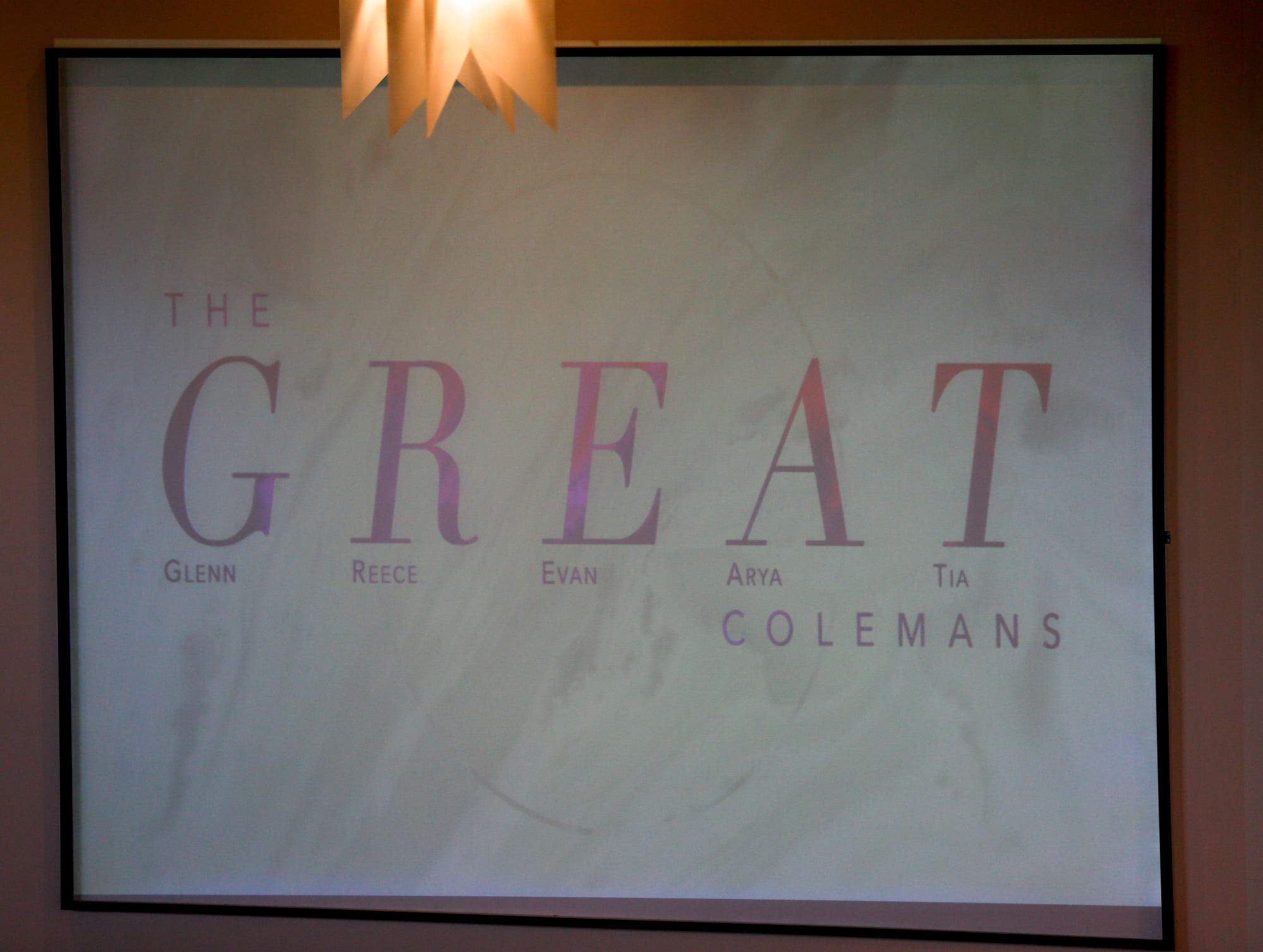 The GREAT Colemans is used to describe the five members of the Coleman family during the homegoing service of Glenn Coleman, 40, Reece, 9, Evan, 7, and Arya, 1, at Grace Apostolic Church on Friday, July 27, 2018. Seventeen people were killed in the duck boat accident in Branson, Missouri, nine of them were members of the Coleman family; Tia and her nephew were the two of the family that lived.