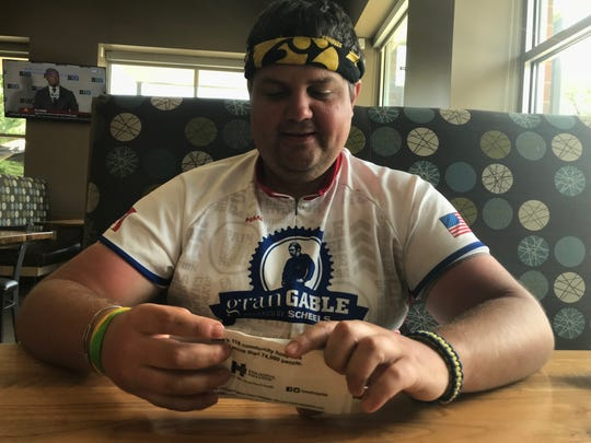Brett Kass makes a pit stop during RAGBRAI 2018 to talk to the Press-Citizen.