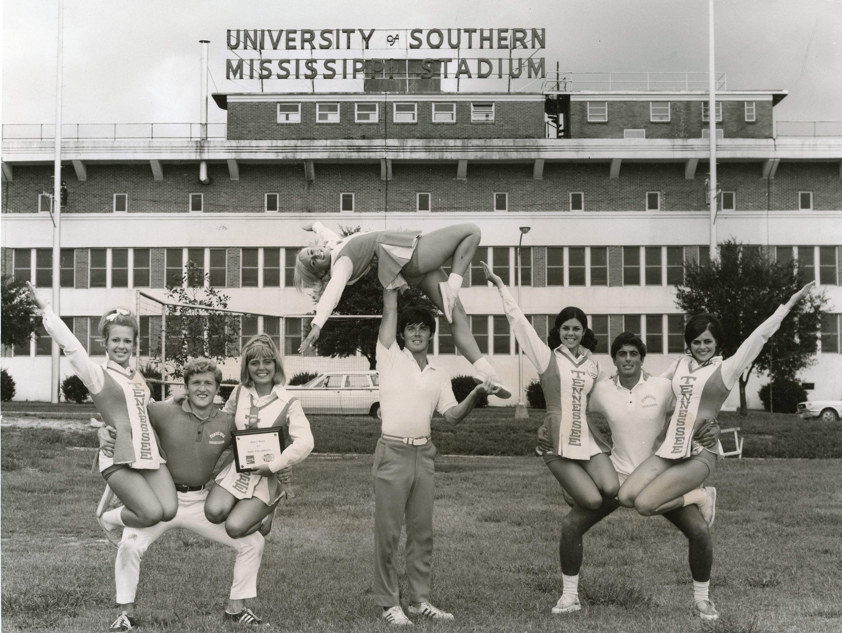 Picutred at the National Spirit and Sportsmanship workshop at University of Southern Mississippi in 1970 were Nancy Gritzner, Richard Gardner, head cheerleader Betsy Minnis, Pat Green (top), Mike Carpenter, Sharon Signaigo, Tony Rose and Lyn Eoff.