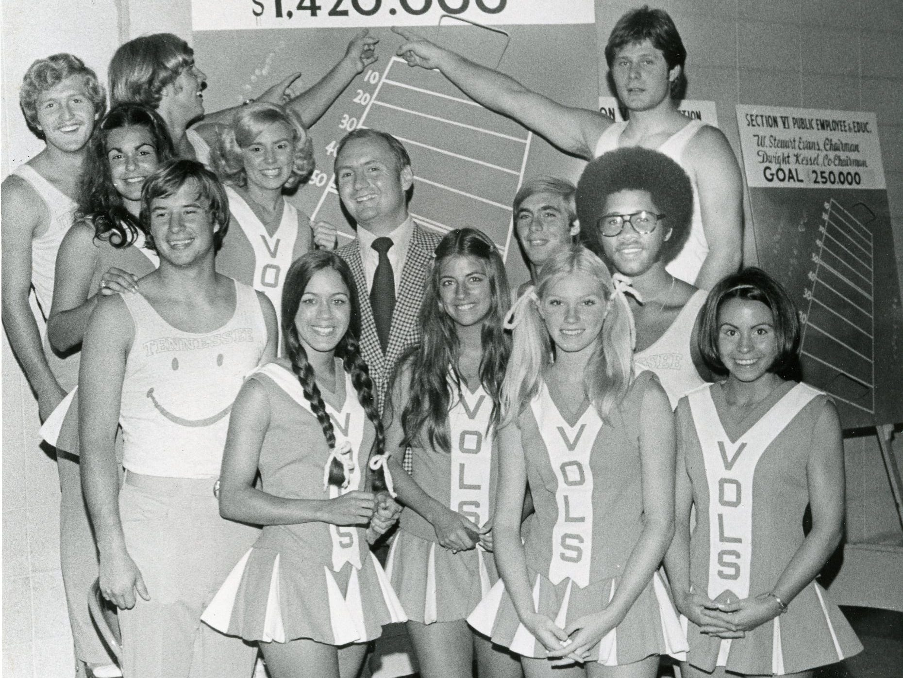 Members of the University of Tennessee cheer squad with James A. Haslam II, center. September, 1971.