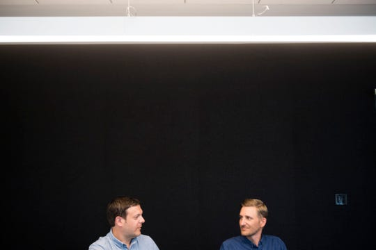 From left Andy Feliu and Eli Hechmer, co-owners of Loch & Key Productions, sit in their new Central Ave. office Wednesday, July 11, 2018.