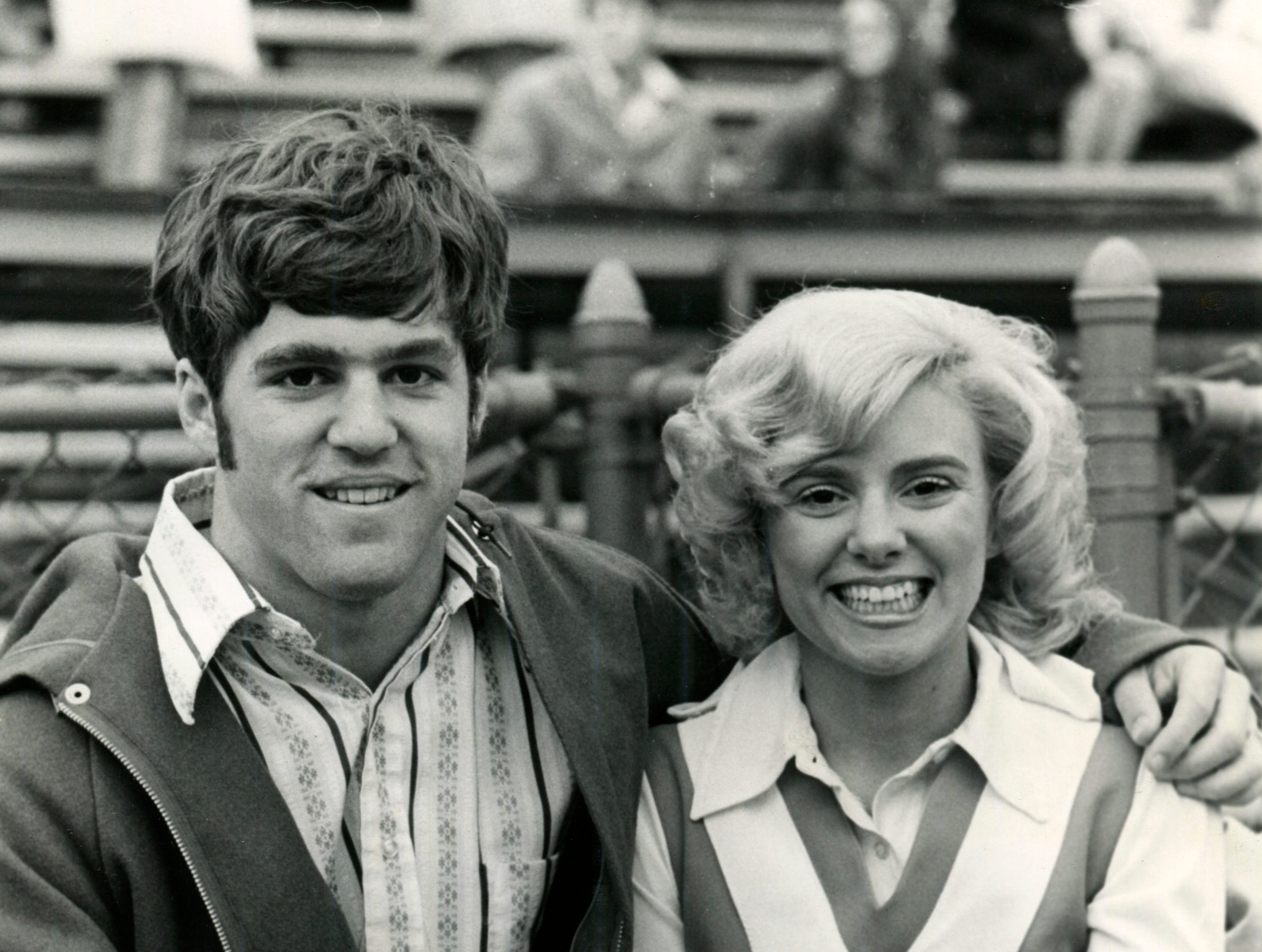 A photo published Nov. 28, 1971, Tennessee cheerleader Pat Green visits with high school football prospect Hank Lauricella Jr. during the Vanderbilt game. Lauricella's father was an All-American tailback for Tennessee in 1951.