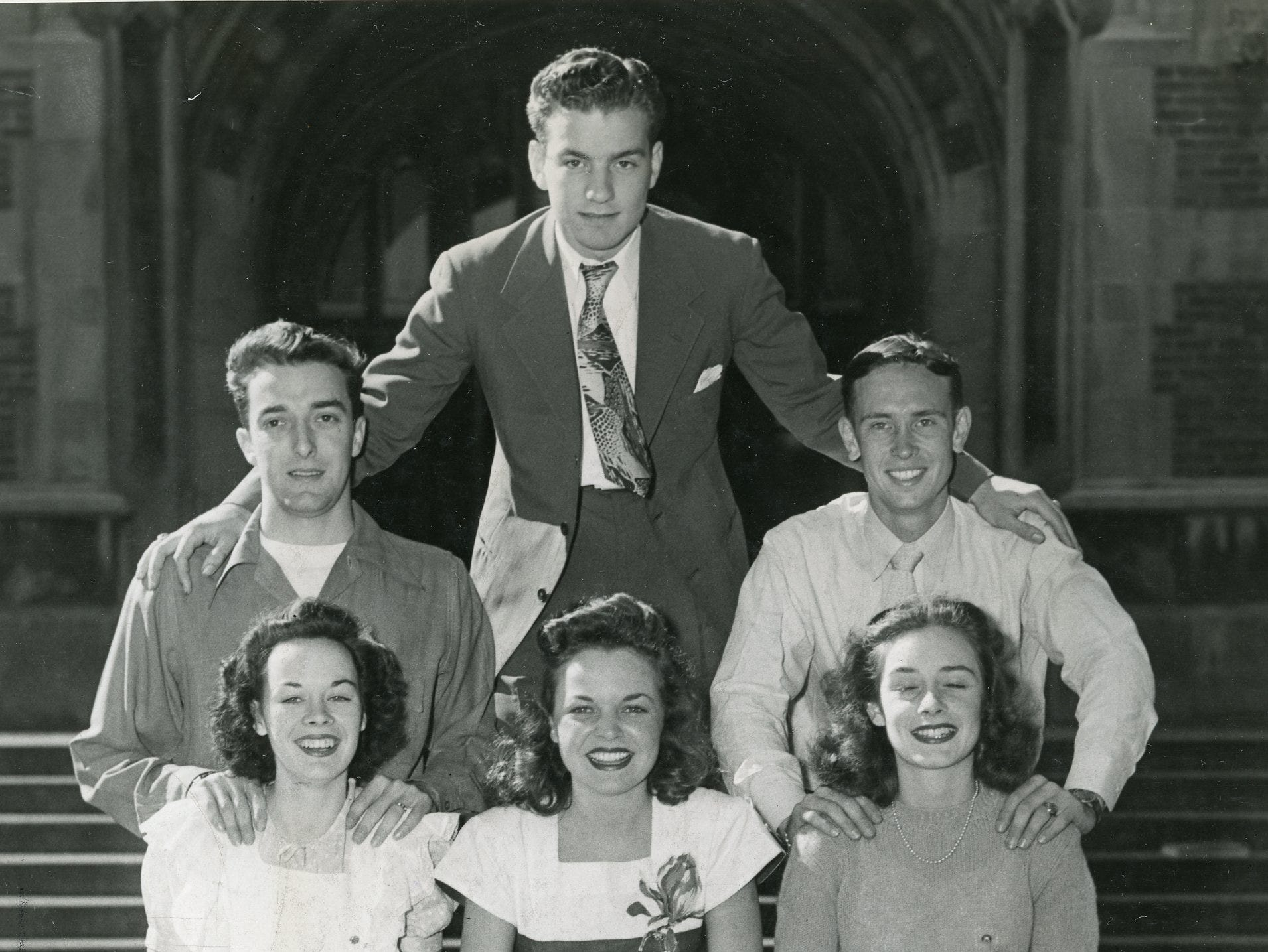 Tennessee's 1946 cheerleading squad members were (front) Johnny Sterchi; (second row) Mary Elizabeth (Sis) McColloch, Loretta Harrison, Mary Lee Ewell; (back) Tandy Wilson, Charlie Wolfenbarger and Thomas Edward (Bucky) Cantrell.