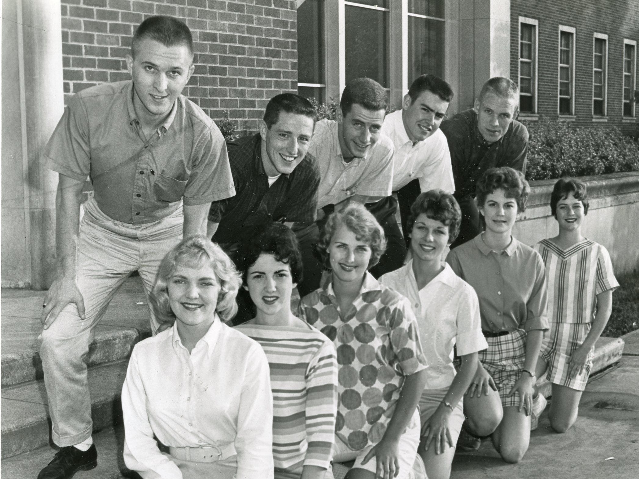 Cheerleaders at the University of Tennessee in 1961 were Sue Novotny, Martha Dempster, Wallene Threadgill, Dola Faye Terry, Janet Stanford, Ann Dixon; Ray Thach, John Pesterfield, Danny Nolan, Tommy Leek and Frank Bowyer.