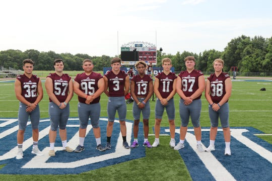 St. Thomas More's seniors on defense and special teams include (from left to right) Trey Clark, Zach Favaloro, Peyton Wilson, Gregory Mahtook, CJ Hill, Dalen Cambre, James Segrest and Trevor Robertson.