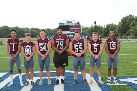 St. Thomas More's offensive starters include (from left to right) Deion Senegal, Grant Arceneaux, Henry Koke, Landon Burton, Thomas Deloach, William Cryer, Sydney Lindon