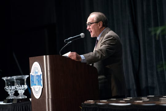 Greater Lansing Area Sports Hall of Fame Executive Director Bob Every addresses the crowd during the 2018 induction ceremony at the Lansing Center on Thursday, July 26, 2018, in downtown Lansing.