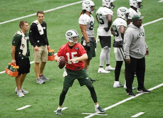 Jets training camp at the Atlantic Health Training Center in Florham Park on Friday, July 27, 2018. #15 Josh McCown.