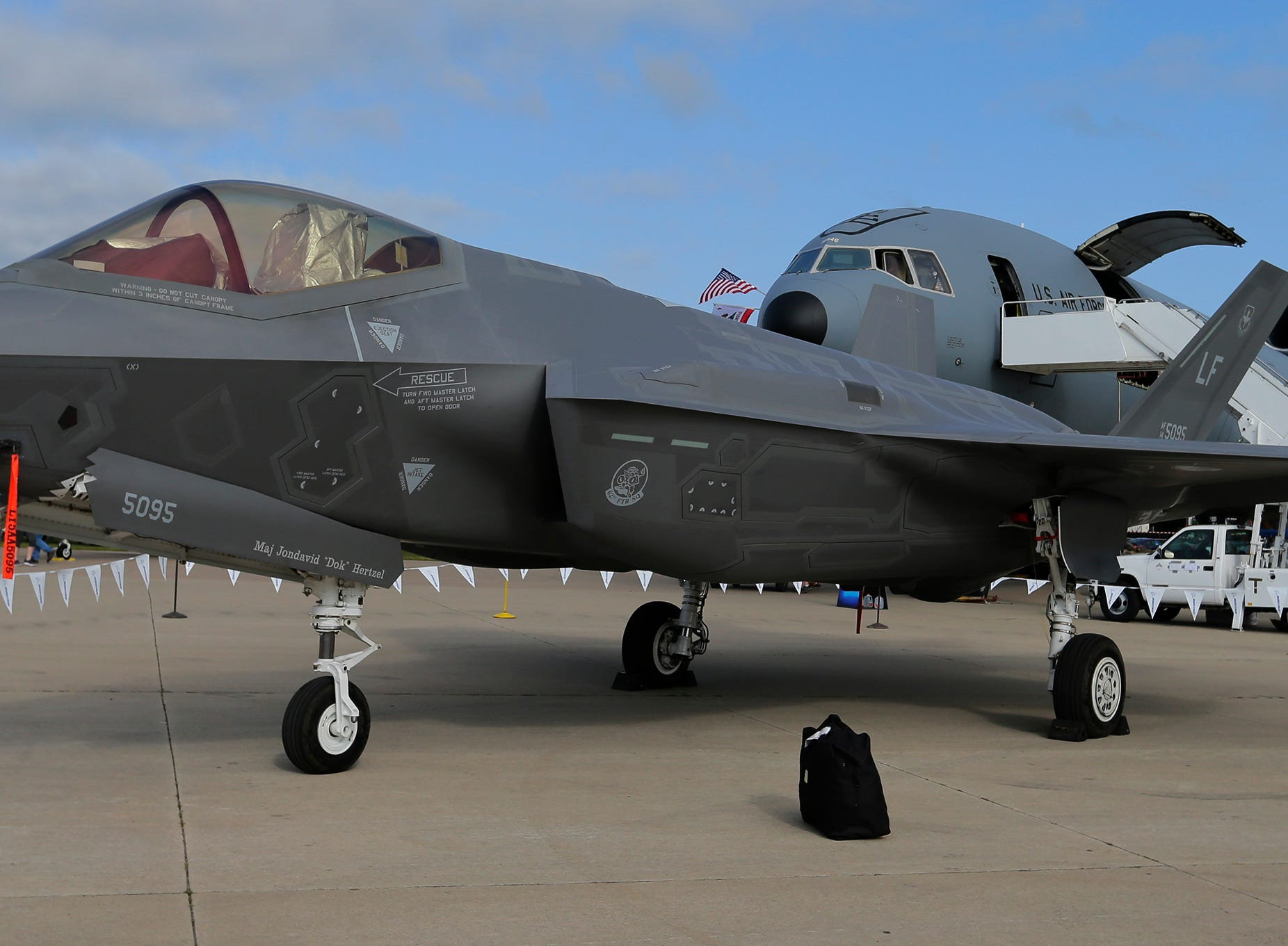 The F-35 made an appearance on Boeing Plaza, Friday, July 27, 2018, in Oshkosh, Wis.  The 66th annual Experimental Aircraft Association Fly-In Convention, AirVenture 2018 draws over 500,000 people and over 10,000 planes from more than 70 nations annually to the area.  The convention runs through July 29.Joe Sienkiewicz/USA Today NETWORK-Wisconsin