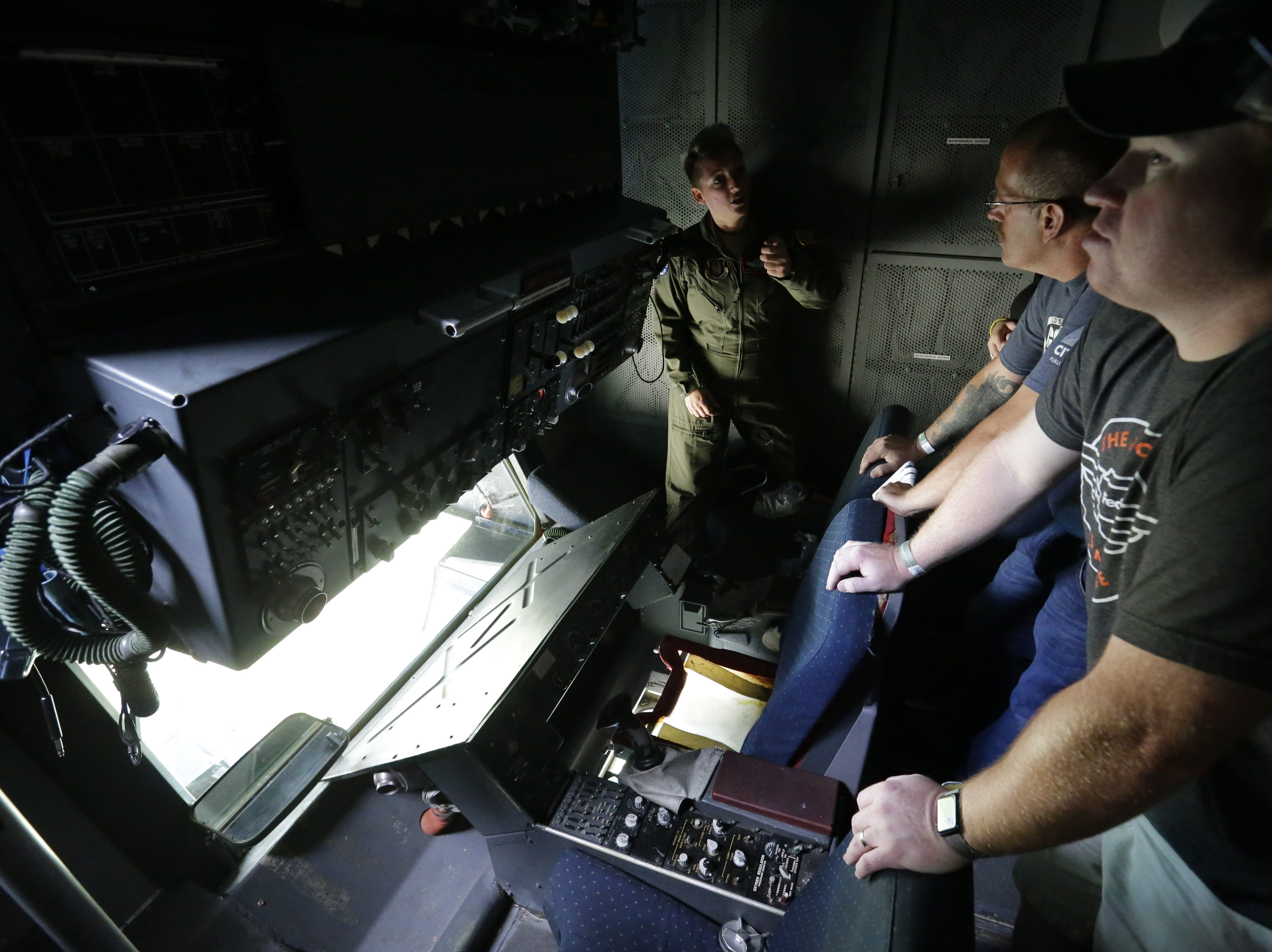 Inside the refueling area of the McDonnell Douglas KC-10 Extender, Friday, July 27, 2018, in Oshkosh, Wis.  The 66th annual Experimental Aircraft Association Fly-In Convention, AirVenture 2018 draws over 500,000 people and over 10,000 planes from more than 70 nations annually to the area.  The convention runs through July 29.Joe Sienkiewicz/USA Today NETWORK-Wisconsin