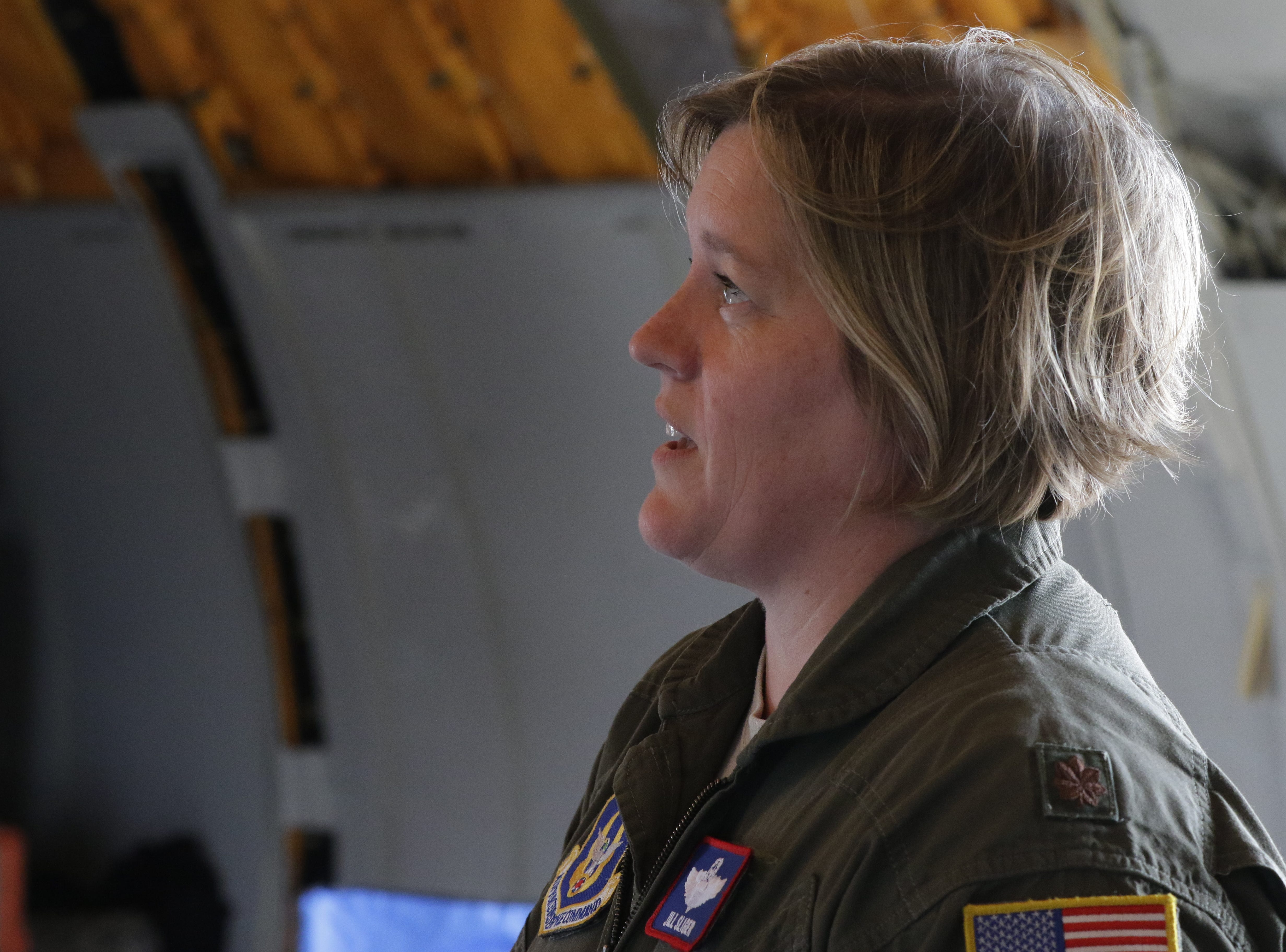 Major Jill Sliger talks about flying the McDonnell Douglas KC-10 Extender the past 2 years, Friday, July 27, 2018, in Oshkosh, Wis.  The 66th annual Experimental Aircraft Association Fly-In Convention, AirVenture 2018 draws over 500,000 people and over 10,000 planes from more than 70 nations annually to the area.  The convention runs through July 29.Joe Sienkiewicz/USA Today NETWORK-Wisconsin