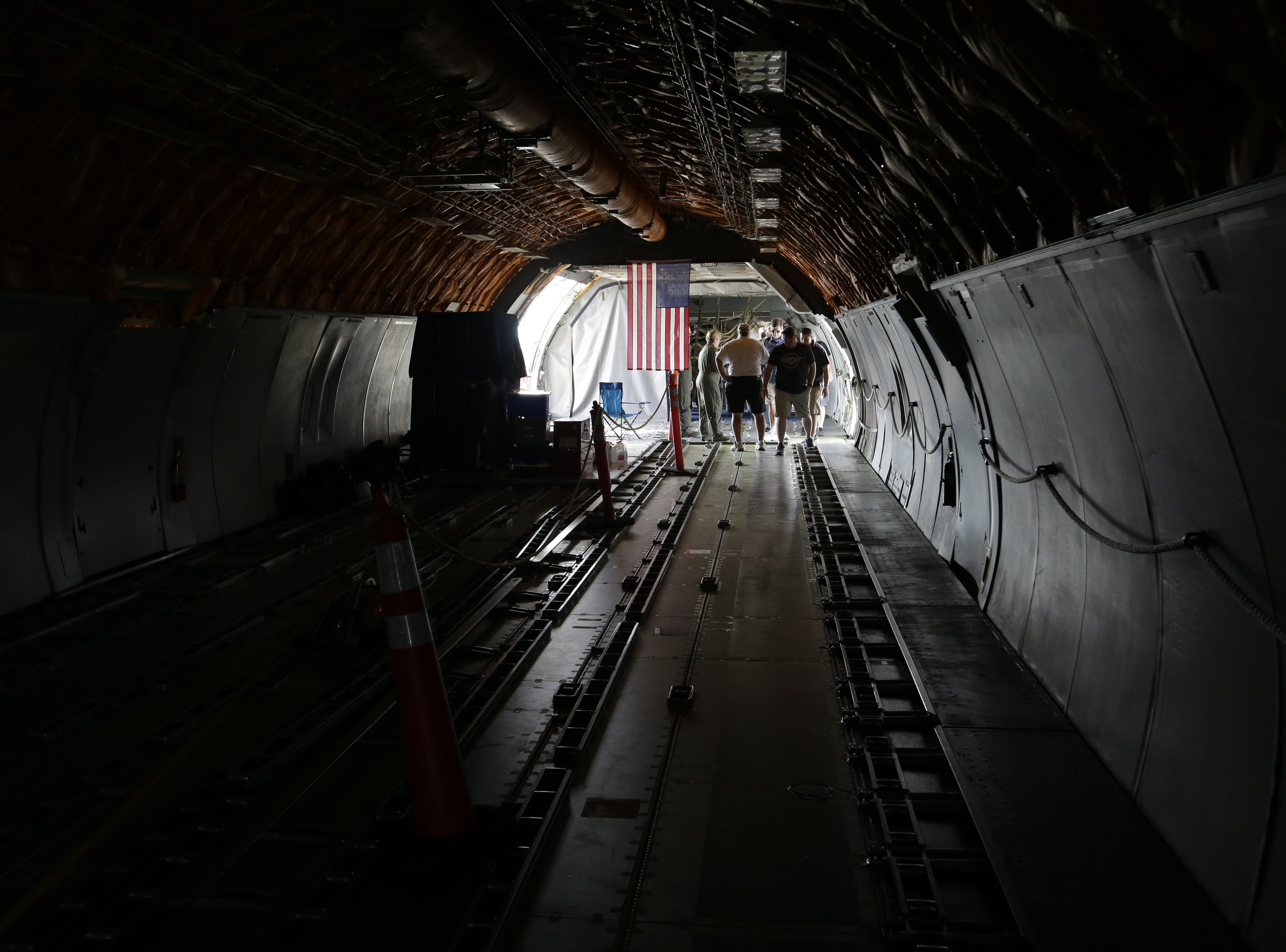 Inside the cargo area of the McDonnell Douglas KC-10 Extender, Friday, July 27, 2018, in Oshkosh, Wis.  The 66th annual Experimental Aircraft Association Fly-In Convention, AirVenture 2018 draws over 500,000 people and over 10,000 planes from more than 70 nations annually to the area.  The convention runs through July 29.Joe Sienkiewicz/USA Today NETWORK-Wisconsin