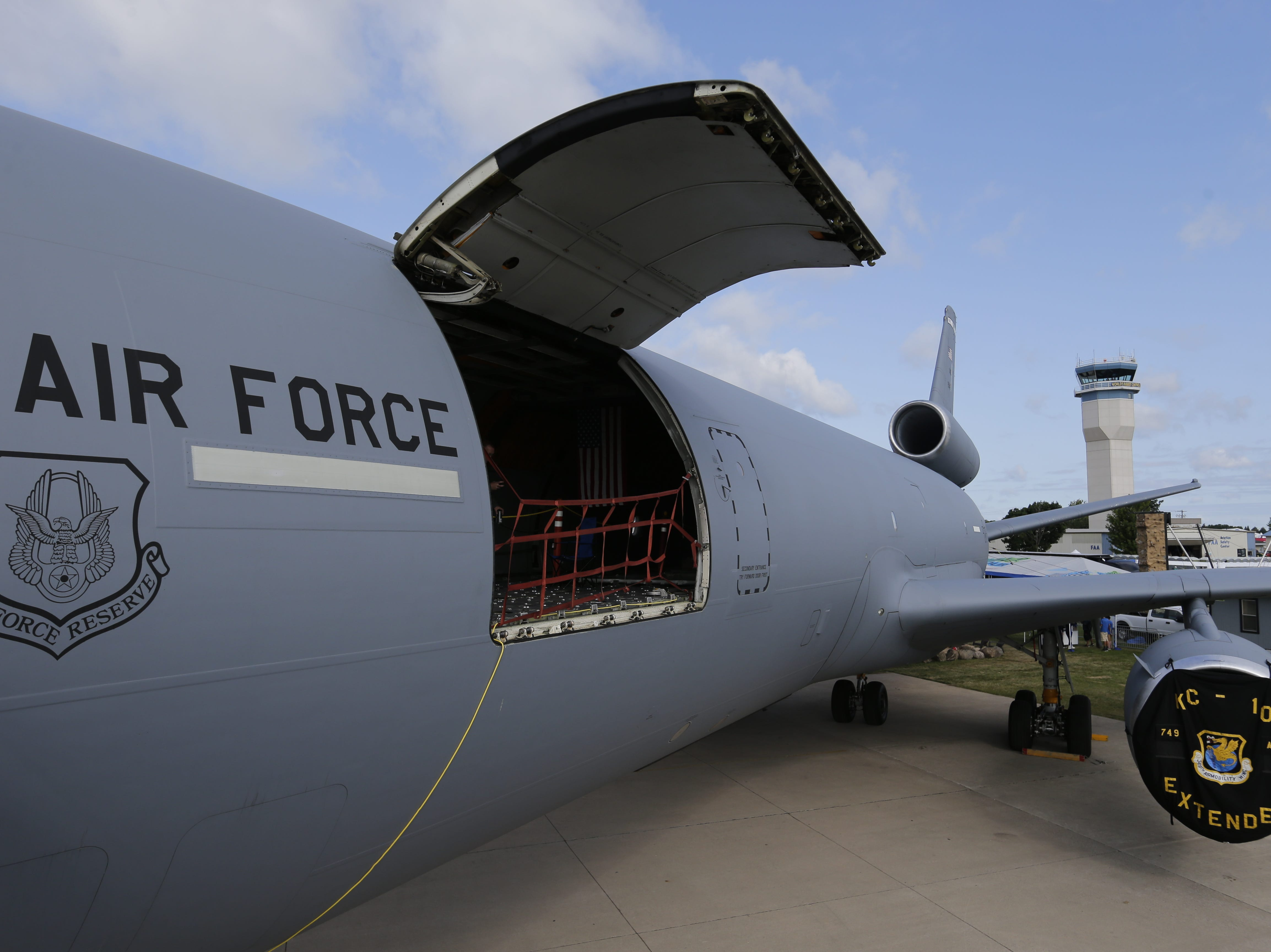 The McDonnell Douglas KC-10 Extender is on display in Boeing Plaza, Friday, July 27, 2018, in Oshkosh, Wis.  The 66th annual Experimental Aircraft Association Fly-In Convention, AirVenture 2018 draws over 500,000 people and over 10,000 planes from more than 70 nations annually to the area.  The convention runs through July 29.Joe Sienkiewicz/USA Today NETWORK-Wisconsin