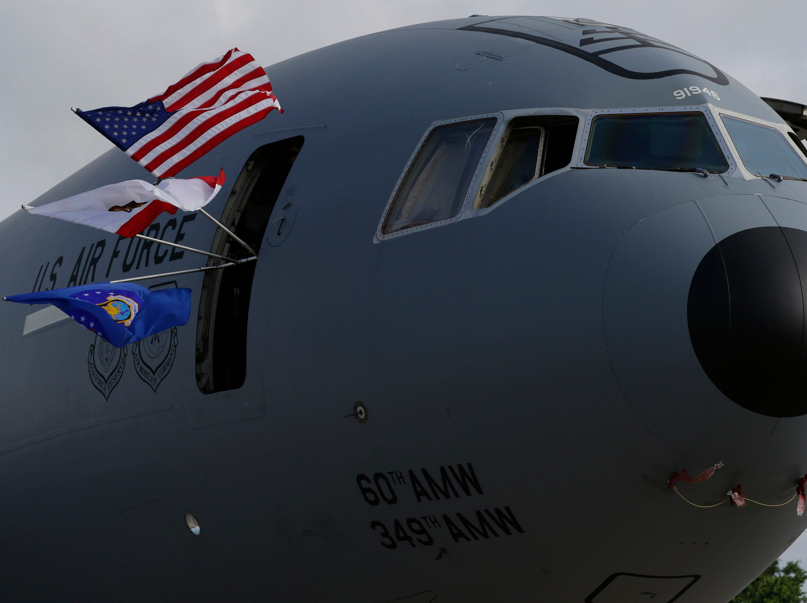 The McDonnell Douglas KC-10 Extender is on display on Boeing Plaza, Friday, July 27, 2018, in Oshkosh, Wis.  The 66th annual Experimental Aircraft Association Fly-In Convention, AirVenture 2018 draws over 500,000 people and over 10,000 planes from more than 70 nations annually to the area.  The convention runs through July 29.Joe Sienkiewicz/USA Today NETWORK-Wisconsin