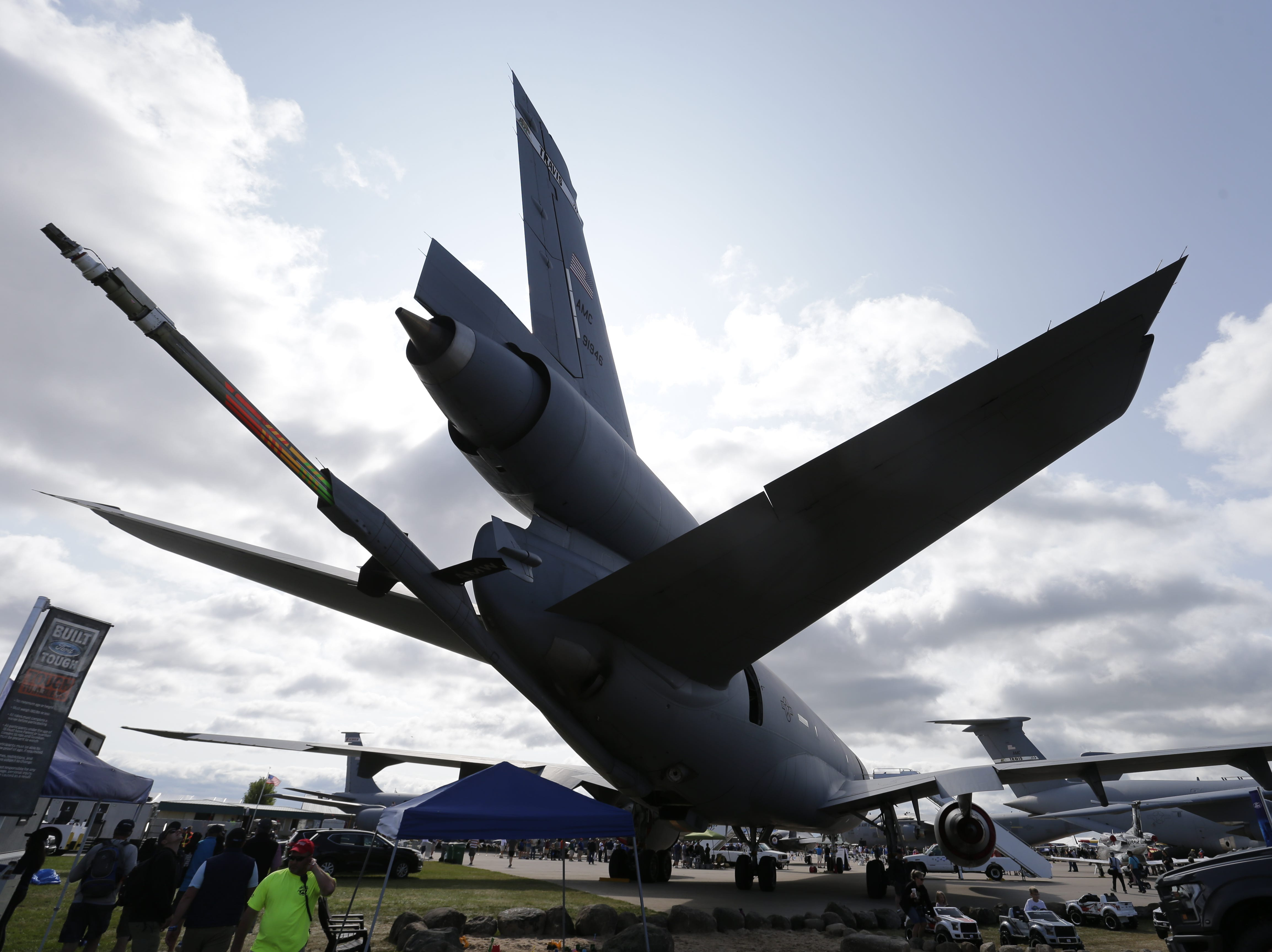 The refueling boom of the McDonnell Douglas KC-10 Extender, Friday, July 27, 2018, in Oshkosh, Wis.  The 66th annual Experimental Aircraft Association Fly-In Convention, AirVenture 2018 draws over 500,000 people and over 10,000 planes from more than 70 nations annually to the area.  The convention runs through July 29.Joe Sienkiewicz/USA Today NETWORK-Wisconsin