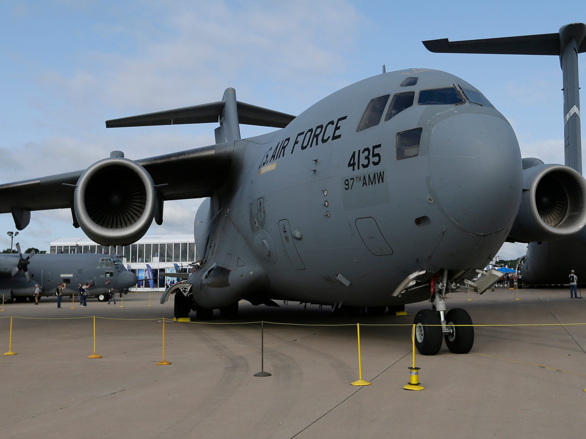 The C-17A was on static display at Boeing Plaza as part of the military hardware as part of the 70th anniversary of the Air Force Reserve Command, Friday, July 27, 2018, in Oshkosh, Wis.  The 66th annual Experimental Aircraft Association Fly-In Convention, AirVenture 2018 draws over 500,000 people and over 10,000 planes from more than 70 nations annually to the area.  The convention runs through July 29.Joe Sienkiewicz/USA Today NETWORK-Wisconsin