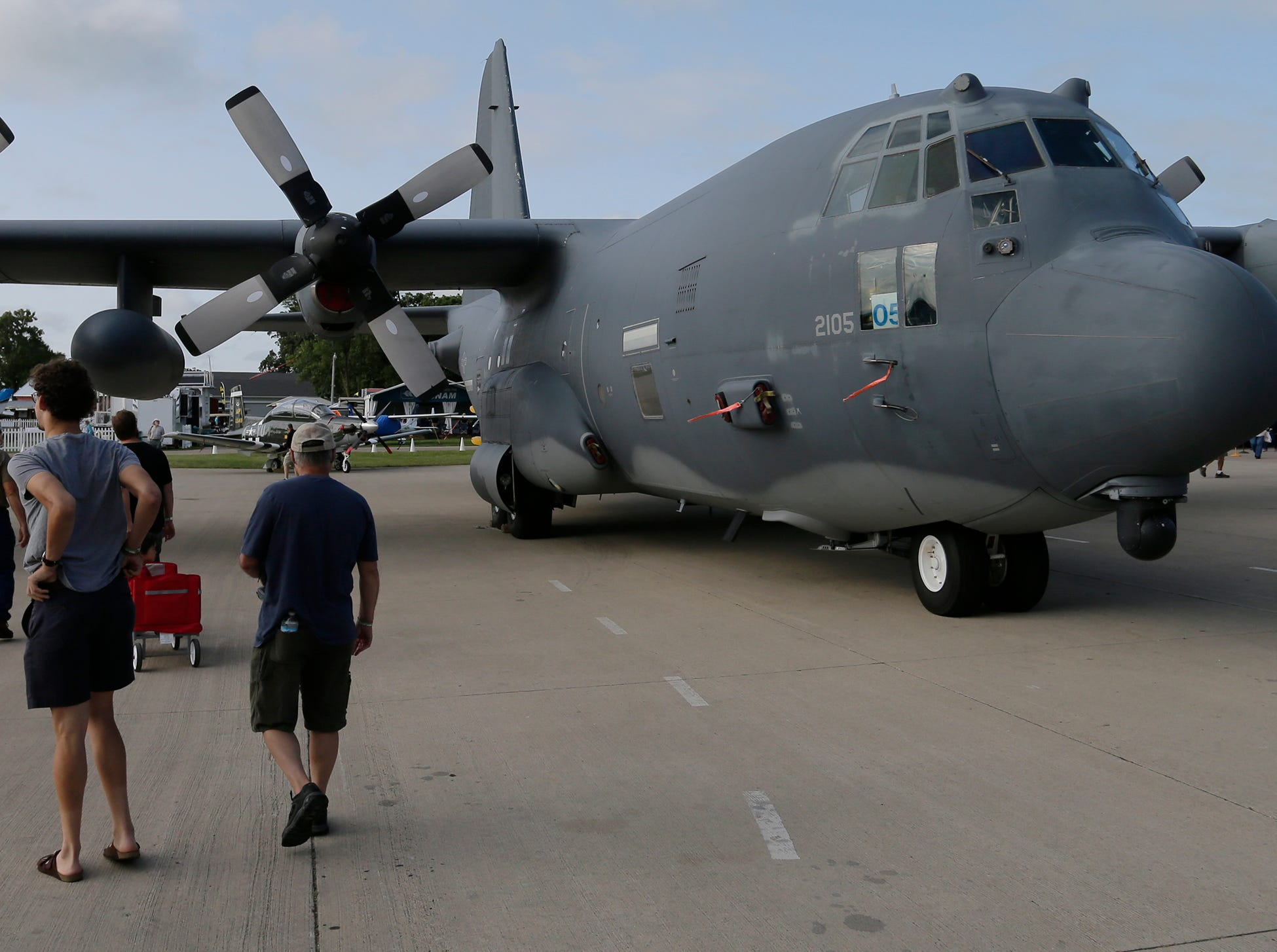 The KC-130H is on static display in Boeing plaza as part of the 70th anniversary of the Air Force Reserve Command, Friday, July 27, 2018, in Oshkosh, Wis.  The 66th annual Experimental Aircraft Association Fly-In Convention, AirVenture 2018 draws over 500,000 people and over 10,000 planes from more than 70 nations annually to the area.  The convention runs through July 29.Joe Sienkiewicz/USA Today NETWORK-Wisconsin
