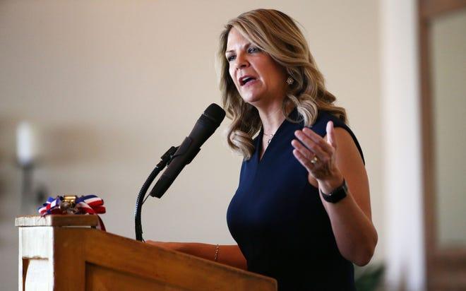 U.S. Senate candidate Kelli Ward speaks at the Palo Verde Republican Women's luncheon on July 18, 2018, in Scottsdale.