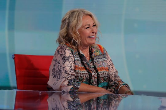 Roseanne Barr talks with Fox News talk-show host Sean Hannity on July 26, 2018, in New York.