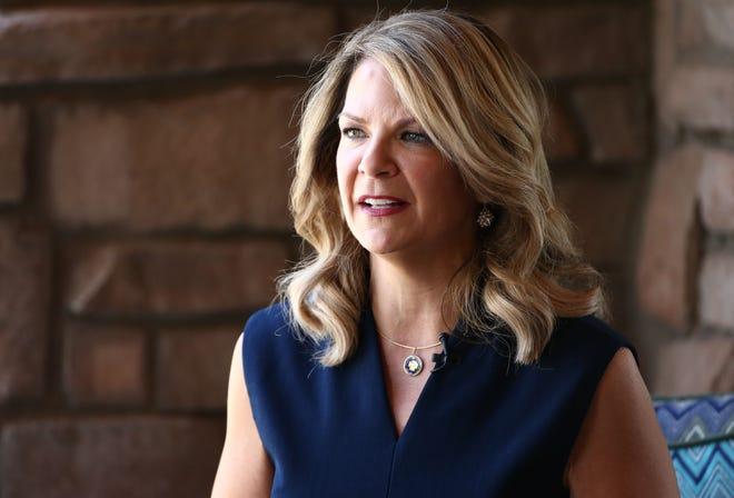 U.S. Senate candidate Kelli Ward is interviewed at the Palo Verde Republican Women's luncheon on July 18, 2018, in Scottsdale.