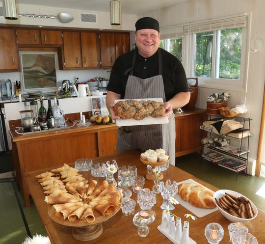 Troy Franke with his baked goods at his home in Hyde Park on July 26, 2018. Franke plans to enter several of his baked items in the Dutchess County Fair this year.