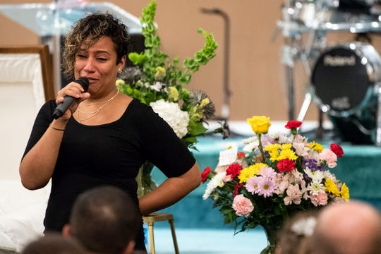 Christine Merrill, Chad's sister-in-law, asks funeral attendees to continue to share stories of Chad during the funeral, Friday, July 27, 2018. Almost 200 people gathered in Valley View Alliance Church, in Hellam Township, to remember and celebrate the life of Merrill, who was shot dead on July 21 outside the Red Rose Restaurant and Lounge.