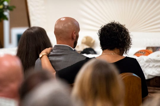 Chad Merrill's brother, Richard, and his wife, Christine Merrill, look on during testimonies at Chad's funeral, Friday, July 27, 2018. Almost 200 people gathered in Valley View Alliance Church in Hellam Township to remember and celebrate the life of Merrill, who was shot dead on July 21 outside the Red Rose Restaurant & Lounge.