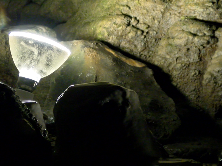 One of the few lights on the Indian Echo Caverns flood tour