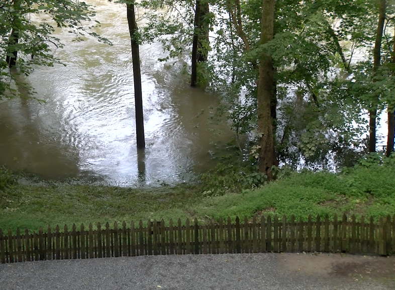 The Swatara Creek was inching closer to the fence of the Indian Echo Caverns in the middle of the week.