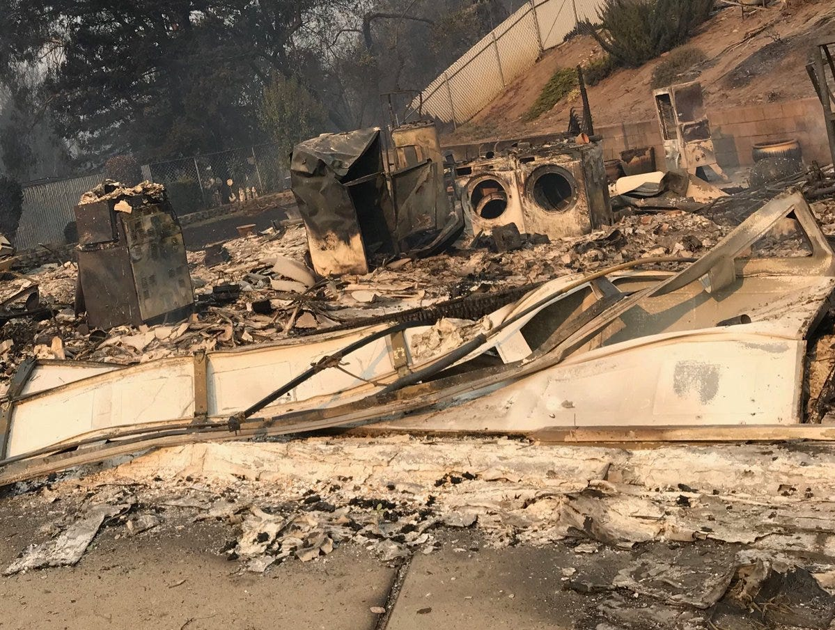 This is all that is left of a home on Turquoise Court and Harlan Drive.
