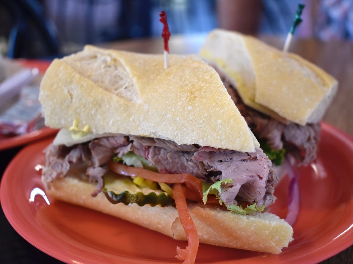 The popular tri-tip sandwich at San Francisco Deli.