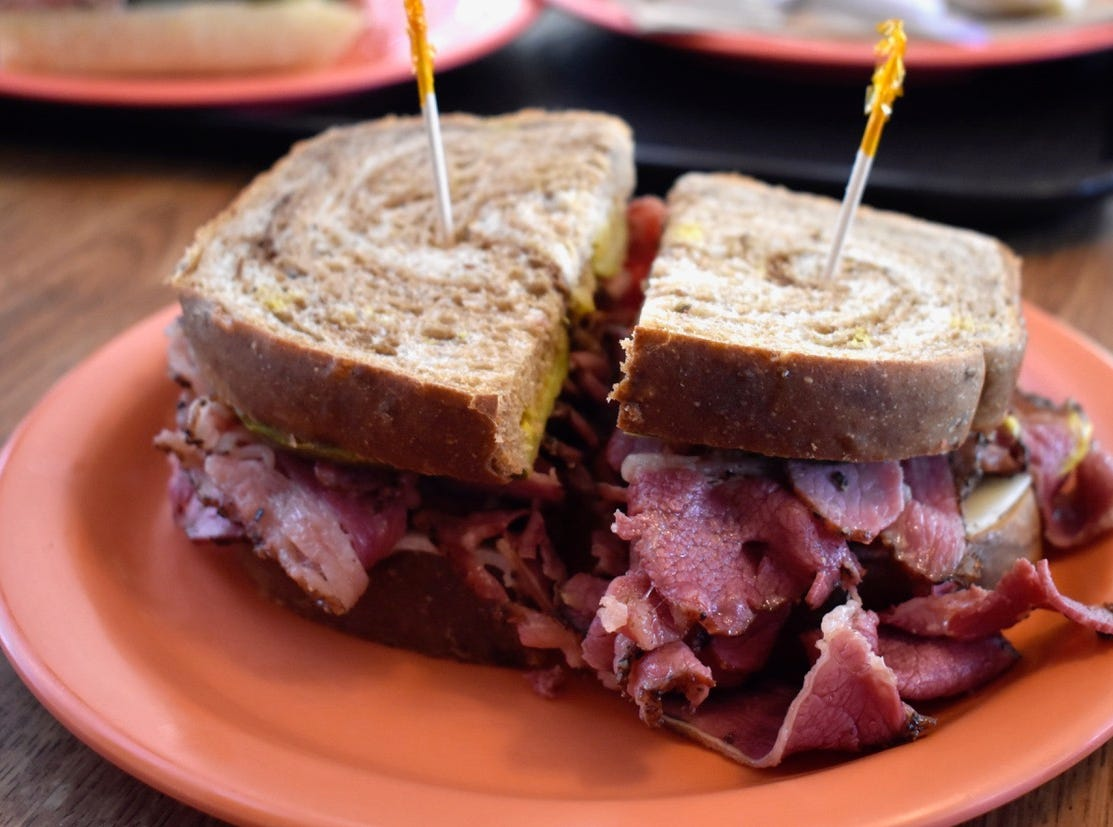 The best-selling pastrami sandwich at San Francisco Deli.