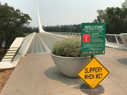 The Sundial Bridge, as well as the Turtle Bay Exploration Park, were without visitors Friday, July 27, 2018  after being closed due to the raging Carr Fire.