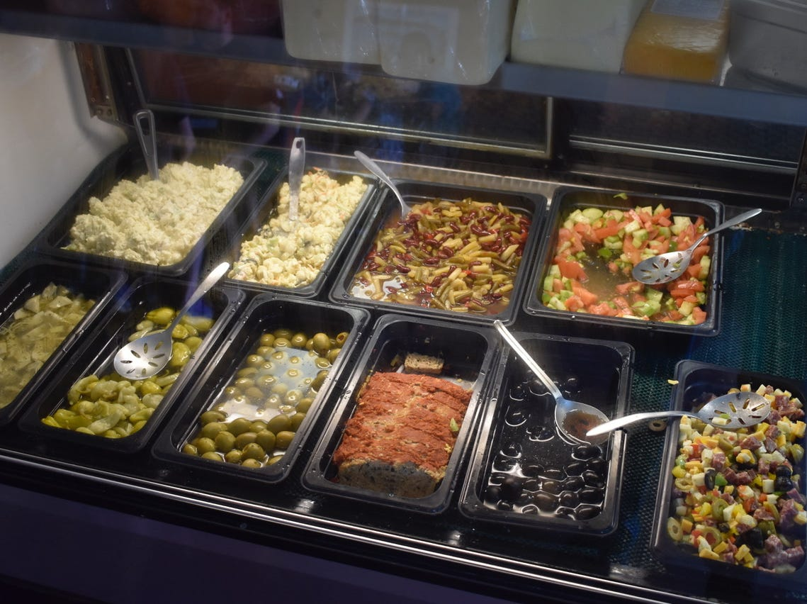 The deli case at San Francisco Deli in Redding.