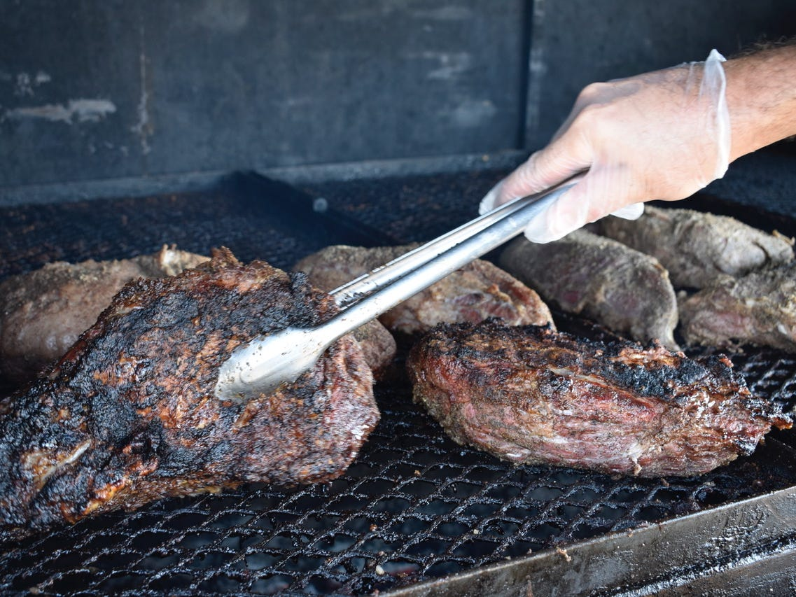 Tri-tip on the outdoor grill at San Francisco Deli, made every Wednesday and Friday.
