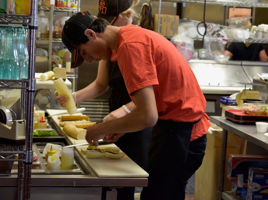 Making sandwiches at San Francisco Deli in Redding