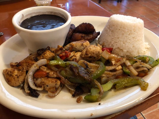 El Cubanito's Chicken Juliana was mojo-marinated chicken strips with sautéed onions and peppers, along side black beans and rice and maduros (sweet, fried ripe plantains.)