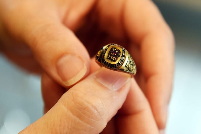 """A 1995 Florida State University ring found July 4 by amateur treasure hunter Stephen Zabrauskas, of Port St. Lucie, was returned to its original owner, Elizabeth """"Betty"""" Engel-Petric, of Stuart, on Friday, July 27, 2018 in Port St. Lucie. Zabrauskas found the ring while snorkeling off the House of Refuge in Stuart."""