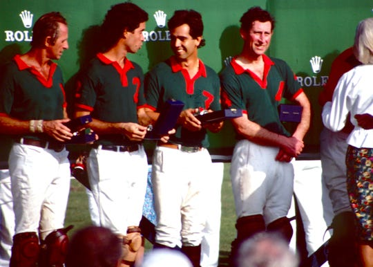Prince Charles (right) played a benefit polo match in February 1989, at Windsor Polo and Beach Club on this day. He arrived at Patrick Air Force Base the day before along with more than 150 bodyguards, anti-terrorism experts and local law enforcement officers who were assigned to keep watch over the prince. The match was the first ever at the Windsor field, and the Prince scored the winning goal against Greenwich.