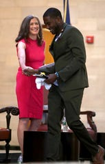 Lt. Gov. candidate and NYC Councilman Jumaane Williams is welcomed by moderator Amy Siskind during a panel discussion organized by Indivisible Westchester at Manhattanville College in Purchase July 26, 2018.