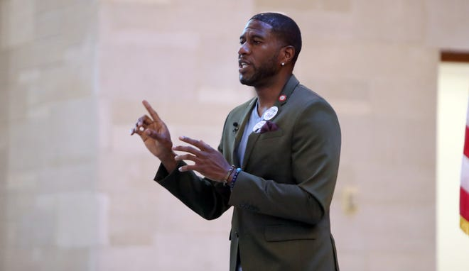 Lt. Gov. candidate and NYC Councilman Jumaane Williams speaks during a panel discussion organized by Indivisible Westchester at Manhattanville College in Purchase July 26, 2018.