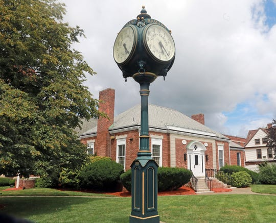 11:40 a.m. A view of the Town of Ramapo clock in front of Finkelstein Memorial Library in Spring Valley July 26, 2018.