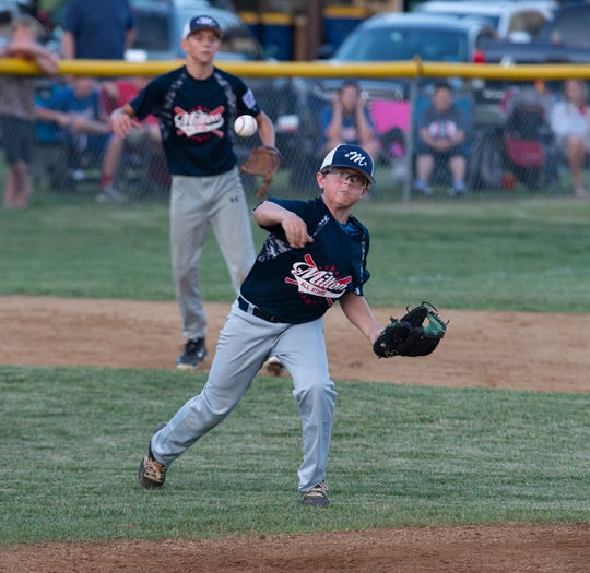 Milton's Tyler Jacona (26) with a throw to first base in the Delaware Little League Baseball Championship game against Newark National in Milford.