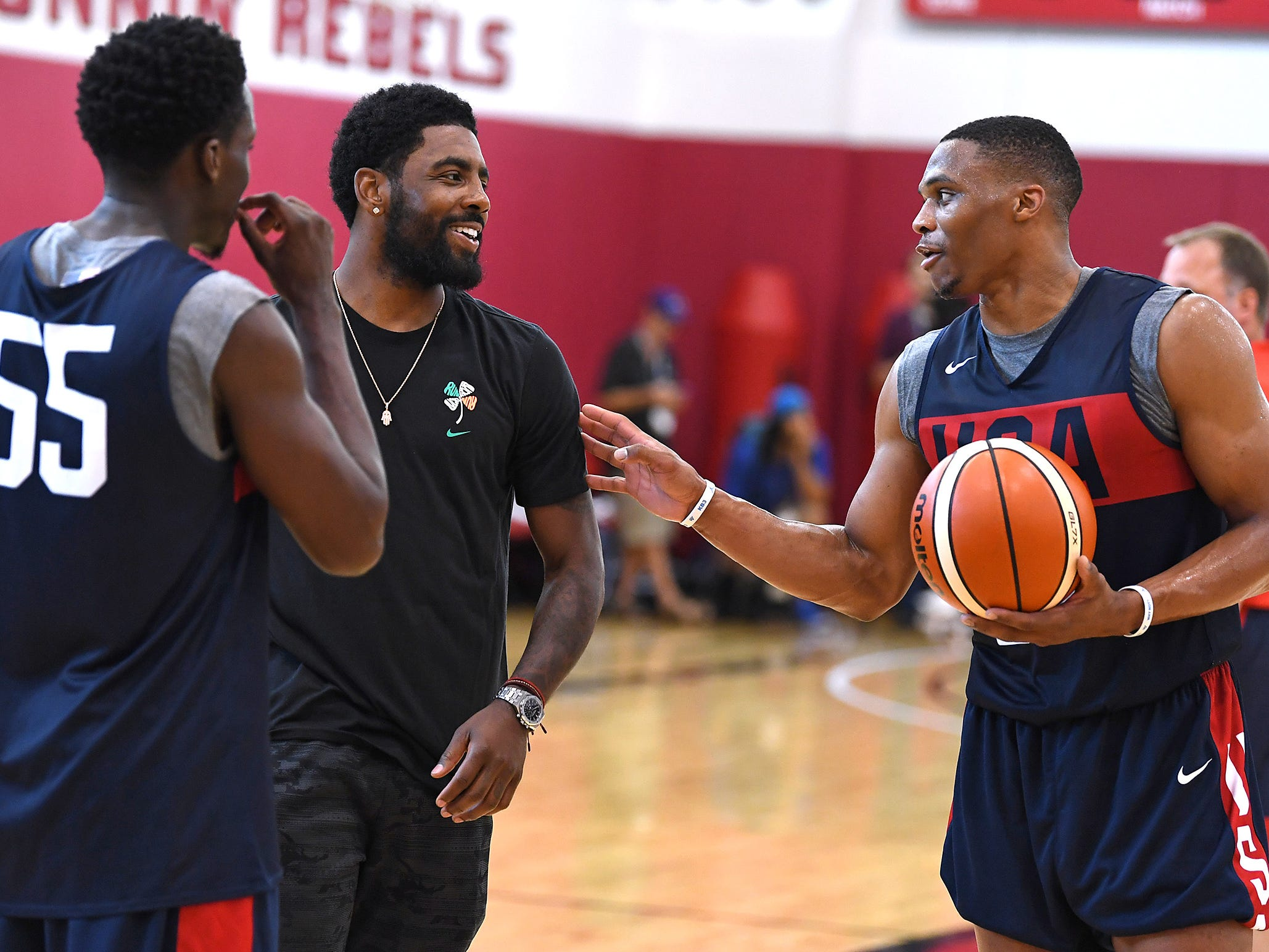 Russell Westbrook talks with Kyrie Irving and Victor Oladipo during the 2018 USA Basketball National Team Minicamp.