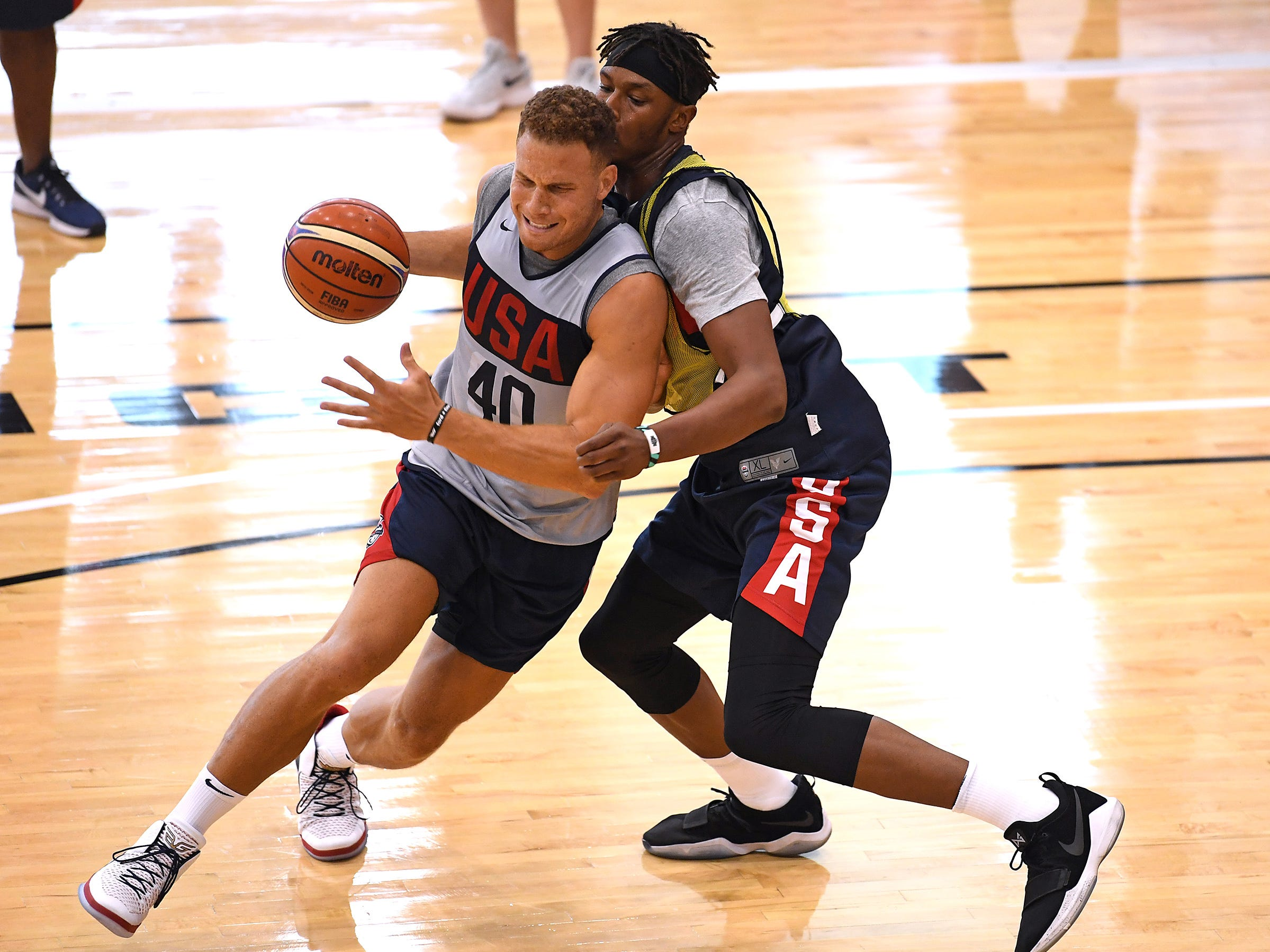Miles Turner defends against Blake Griffin during the 2018 USA Basketball National Team Minicamp.